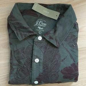JCrew polo Hawaiian patterned shirt